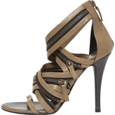 Balmain Khaki Leather Sandals