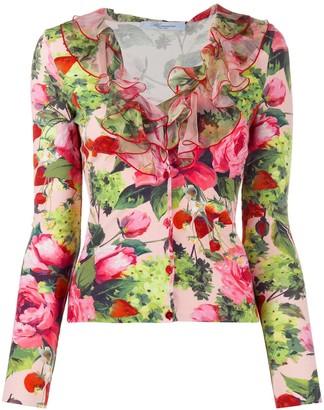 Blumarine Floral Print Ruffled Cardigan