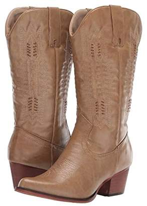 Roper Jessamine (Tan Burnished Faux Leather) Cowboy Boots