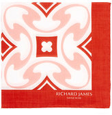 Richard James Men's Tile-Print Cotton Pocket Square
