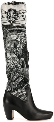 """Lanvin """"Saint George and the Dragon"""" print boots"""