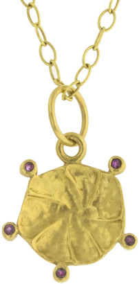 Cathy Waterman Burmese Ruby Lily Leaf Yellow Gold Charm