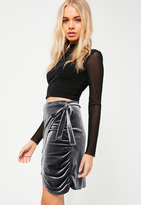 Missguided Grey Velvet Tie Side Wrap Skirt