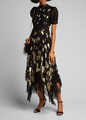Alice + Olivia Bettina Floral Handkerchief Dress