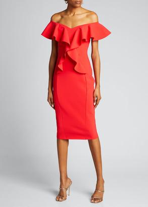 Chiara Boni Off-the-Shoulder Ruffle Detail Sheath Dress
