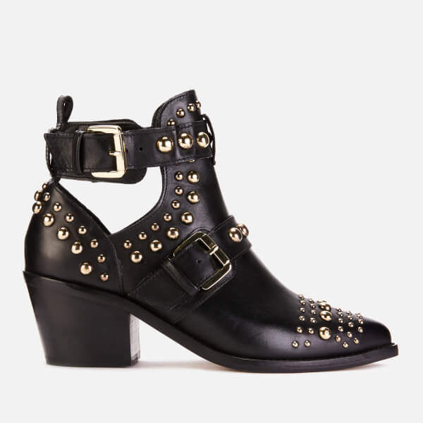 London Women's Sybil Leather Studded Ankle Boots