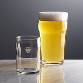 Crate & Barrel Pint and Half Pint Glasses with Crown