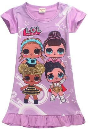 Dgfstm Comfy Loose Fit Pajamas Girls Printed Princess Dress Sleepwear Nightgown (6172red 130(7-8years))