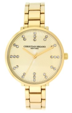 Christian Siriano New York Christian Siriano Women's Analog Gold-Tone Stainless Steel Add-a-Link Watch 38mm