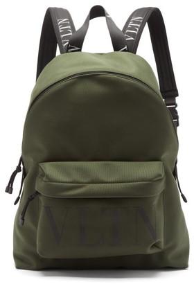 Valentino Vltn-logo Canvas Backpack - Khaki