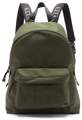 Valentino Vltn Logo-print Canvas Backpack - Khaki