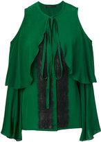 Elie Saab cold-shoulder lace insert blouse