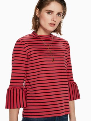 Maison Scotch Red Black Striped Ruffle Tee - 6 - Red/Black