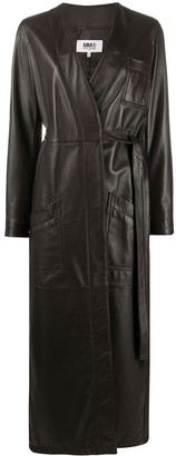 MM6 MAISON MARGIELA Leather Asymmetric Belted Trench Coat