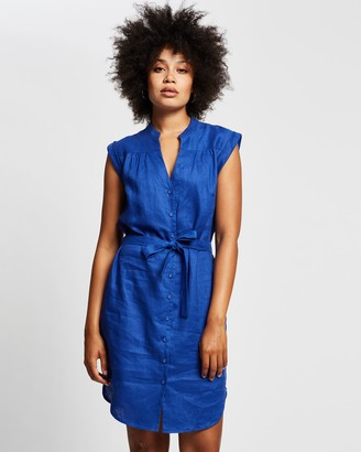 Marcs - Women's Blue Shirt Dresses - Sapphire Washed Linen Dress - Size One Size, 8 at The Iconic
