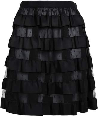 RED Valentino Tiered Point D'esprit And Faille Mini Skirt