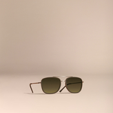 Burberry Square Frame Acetate And Leather Sunglasses