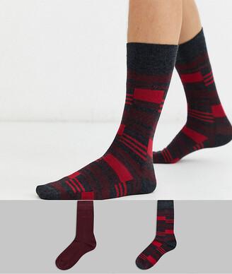 BOSS bodywear 2 pack socks in burgundy-Red