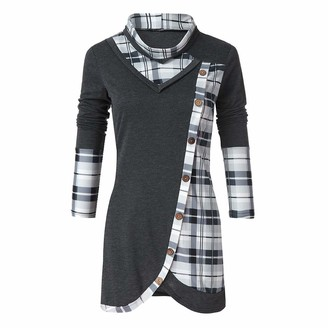 Rovinci Women's Clothing Rovinci_Women Plaid Turtleneck Tartan Checked Splicing Button Tops Long Sleeve Shirt Cut Out Blouses Irregular Hem Patchwork Scarf Collar Tunic Dark Gray