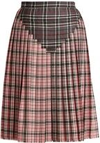 Marco De Vincenzo Pleated contrast-tartan wool skirt