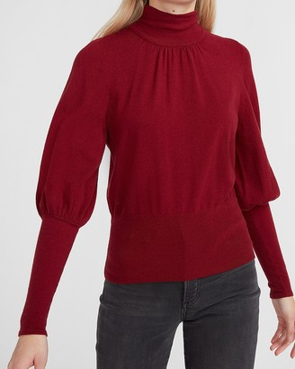 Express High Ribbed Blouson Sleeve Turtleneck Sweater