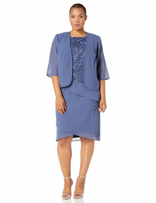 Le Bos Women's Plus Size Embroidered TOP Tiered Jacket Dress
