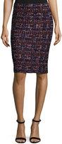 St. John Tweed Pull-On Pencil Skirt, Black Pattern