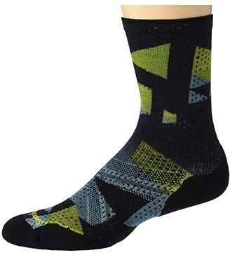 Smartwool PhD(r) Run Light Elite Print Crew (Black) Men's Crew Cut Socks Shoes