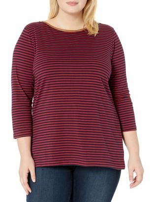 Chaps Women's Plus Size Boatneck Faux Suede Trim 3/4 Sleeve Jersey T-Shirt