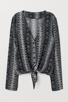 H&M Tie-front V-neck Blouse