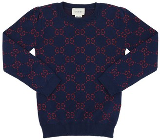 Gucci Logo Cotton & Lurex Jacquard Sweater