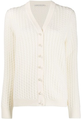 Alessandra Rich Pearl Button Cardigan