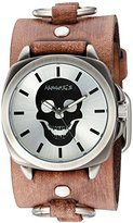 Nemesis 'Skull Head Series' Quartz Stainless Steel and Leather Automatic Watch, Color:Brown (Model: BFRB935S)