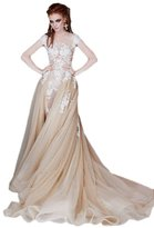 Angelstormy Women's Capped Sleeve Mermaid Formal Gown Wedding Dress with Watteau US