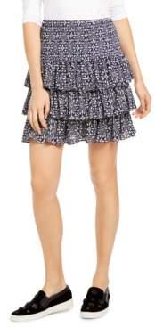 Michael Kors Michael Petite Printed Tiered Skirt