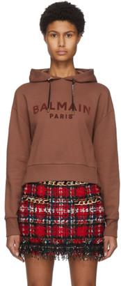 Balmain Brown Cropped Flocked Logo Hoodie