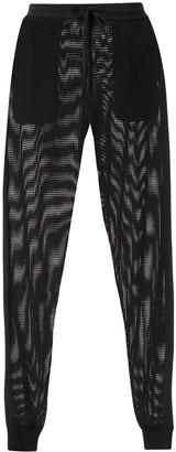 Adam Selman mesh knit slim fit track pants