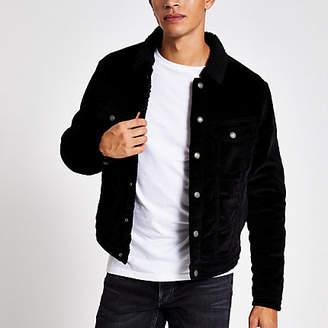 Jack and Jones black borg collar cord jacket
