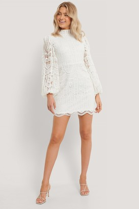 NA-KD Balloon Sleeve High Neck Lace Dress