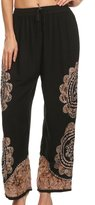 Sakkas 4214 - Mase Floral Embroidered Adjustable Wide Leg Palazzo Pant - OS