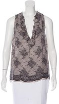 L'Agence Silk Lace Print Top
