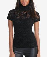 Lauren Ralph Lauren Petite Lace Mock Neck Shirt