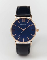 Sekonda Rose Gold Detail Navy Leather Strap Watch Exclusive to ASOS
