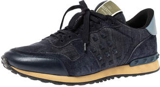 Valentino Blue Denim, Leather and Suede Rockrunner Stud Sneakers Size 42