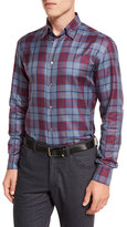 Brioni Tartan Plaid Long-Sleeve Sport Shirt, Red/Blue