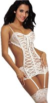 Amour-Sexy Lingerie Spaghetti Strap see-through hot spide Lace Dress Garter (XS, )