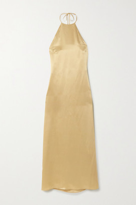 BERNADETTE Jack Silk-satin Halterneck Midi Dress - Gray
