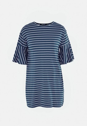 Missguided Blue Stripe Frill Sleeve T Shirt Dress