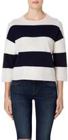 J Brand Estero Long Sleeve Sweater in Cream/Black Iris