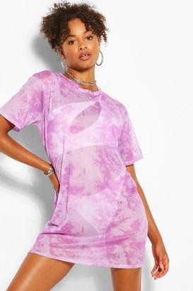 boohoo Tie Dye Mesh T-shirt Dress
